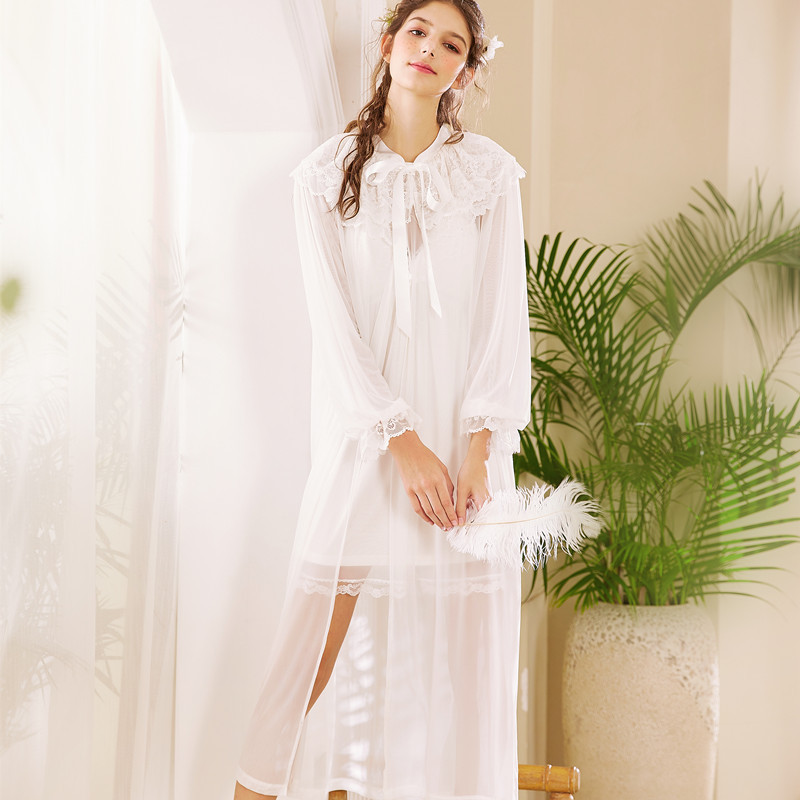New Arrivals Women Mysterious Elegant Mesh Floral Embroidery Bow Lace Up Doll Collar Bathrobe Two Piece Ladies Dressing Gowns