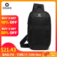 OZUKO Men Anti theft Crossbody Bags Male Waterproof USB Charging Chest Pack Short Trip Messenger Sling Bag Shoulder Chest Bag