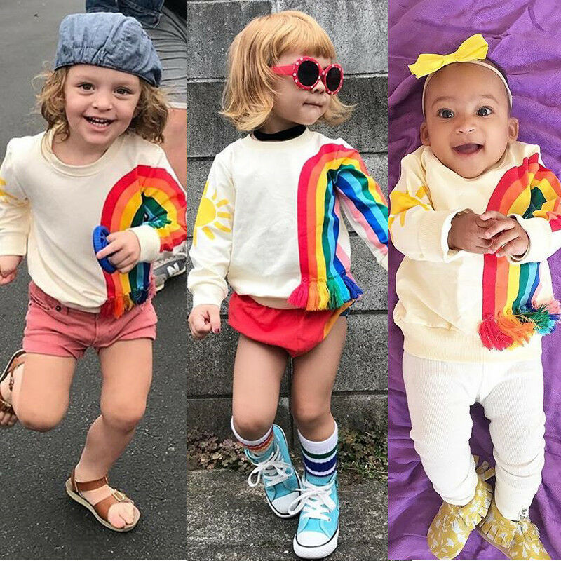 Autumn Toddler Baby Girls Kids Sweatshirts Tops Long Sleeve Rainbow T-Shirt Sweatshirt Clothes Outfit 1-6Y 2