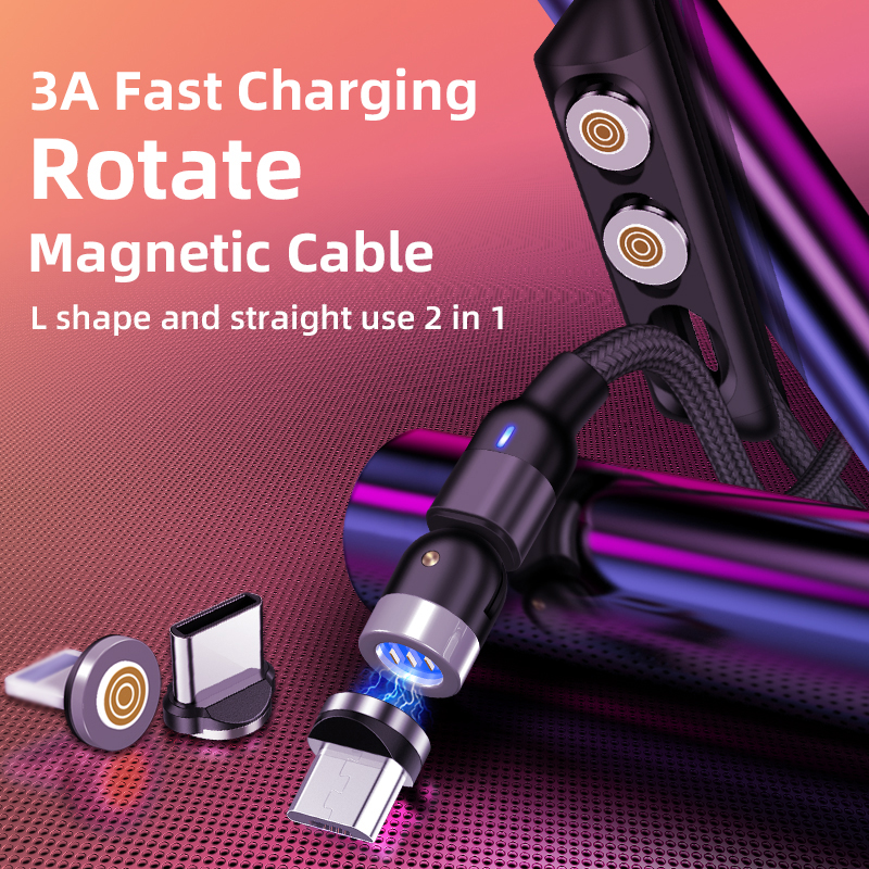 360 and 180 degree rotation L-shape 3A Fast Charging Magnetic Cable Charger for Micro USB Type C iOS Data Cable