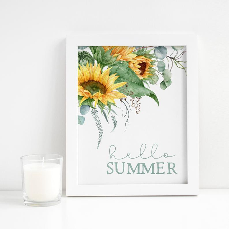 Farmhouse Wall Art Decor Hello Summer Sign Prints Sunflowers Seasonal Signs Poster Art Canvas Painting Picture Wall Decoration image