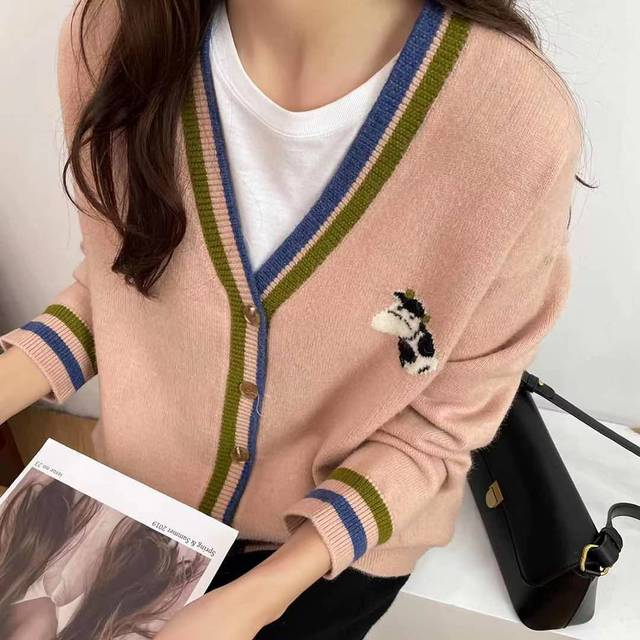 Cute cardigan with small cow print