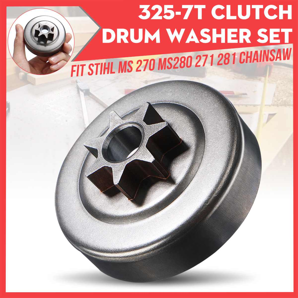 325-7T Clutch Drum Washer Set Fit For Stihl MS 270 MS280 271 281 Chainsaw For Petrol / Gas Power Type