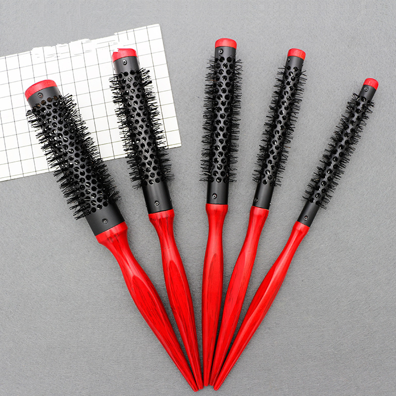5pcs Wholesale Roller Small Round Men's Hair Brush Styling Comb Wooden Aluminum Tube 10mm 12mm 15mm 20mm 25mm  G0111