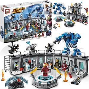 Super Hero Robot Iron Man Building Blocks Iron-Man Lab Children Educational Toys Christmas Gifts Dropshipping(China)