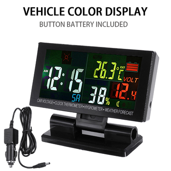 Car Digital Clock Thermometer Hygrometer Weather Voltmeter LCD Display Temperature Gauge Voltage Meter Tester Monitor brand new 2 in 1 car 12v universal red green dual display led dual digital thermometer temperature meter voltmeter