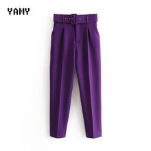 New Womens casual purple Pant Capris with belt high waist ye