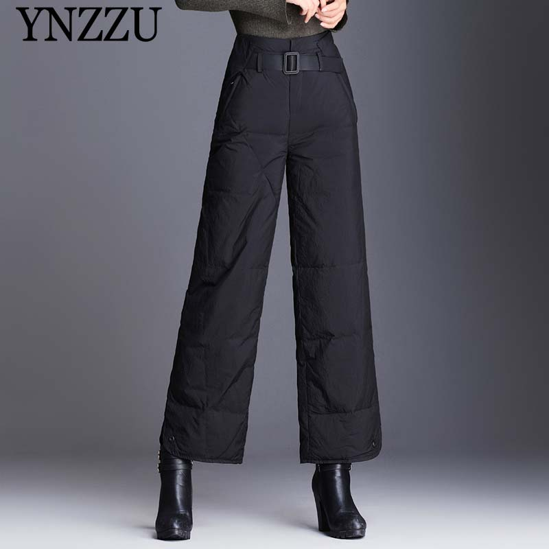Winter Women Warm Down Pants Large Size 2019 New Black High Waist Wide Leg Pans Loose With Belt Female Trousers YB393 YNZZU