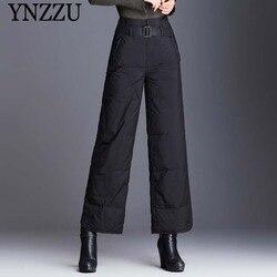 Winter Women Warm Down pants Large size 2019 New black High waist Wide leg Pans Loose With belt Female Trousers YB393 YNZZU