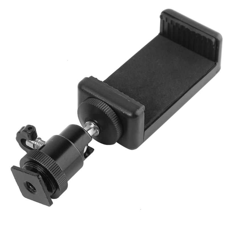 Universal Hot Shoe Pan Tilt 1/4 Screw Interface Metal Ball Head+Phone Holder Selfie Clip Clamp Mount Tripod Adapter