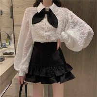2PC Fashion Vestidos New Women Sweet Bowtie White Shirts&Black Ruffled Mini Pant Skirt Sets Two Piece Chic Dress Suits Outfits