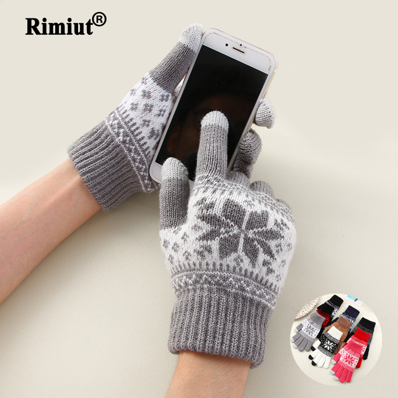 Creative Fashion Snowflake Printing Gloves Mobile Phone Touch Screen Knitted Gloves Winter Thick & Warm Adult Gloves Men Women