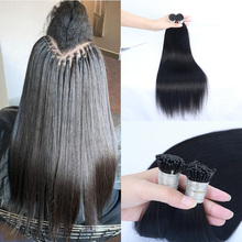 Human-Hair-I-Tip Microlinks-Extensions Bulk Brazilian Straight for Women 1/2/3-bundles