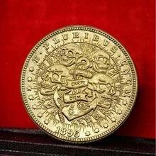 Имитация мемориальная монета коллекция подарок Шотландка маленькая золотая монета четыре черепа пиратский узор СДО старая Золотая мемориальная Монета КОПИЯ