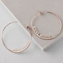 Personalized Hip-hop Attract Custom Name Jewelry Date Large Earrings Adult Stainless Steel Big Round Circle For Women Jewelry(China)