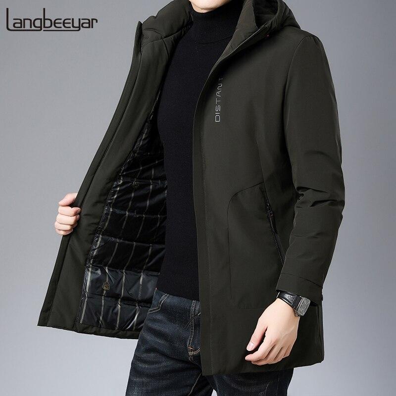 Top Grade 2019 Winter Fashions Brand Down Jackets Mens Hooded Korean Streetwear Feather Coats Long  Warm Men Clothing