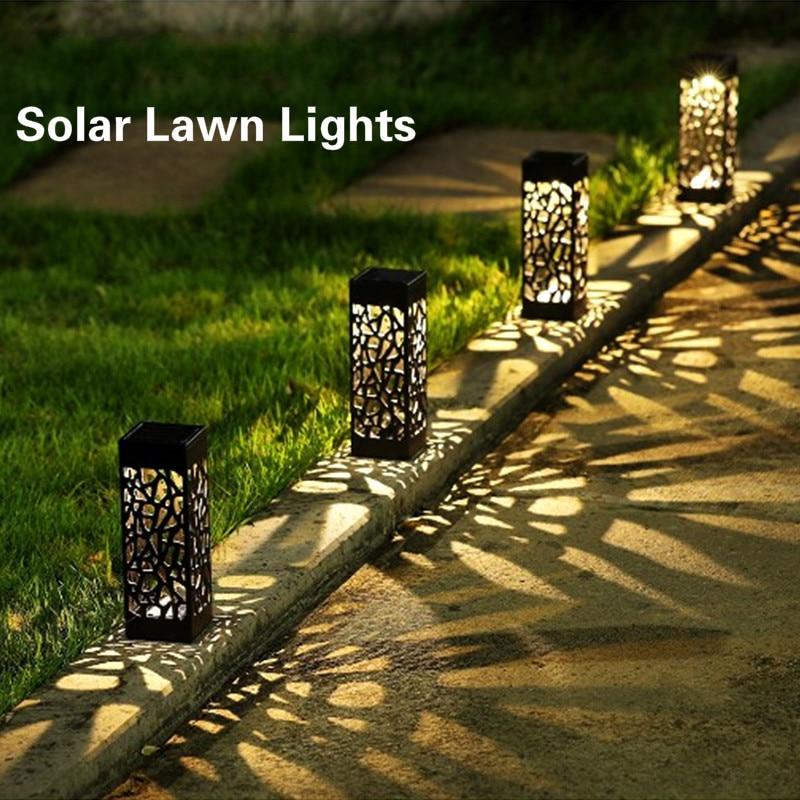 Luz solar do gramado decoração jardim oco gramado lâmpada ao ar livre soalr jardim luzes caminho luz à prova dwaterproof água jardim solar led luz
