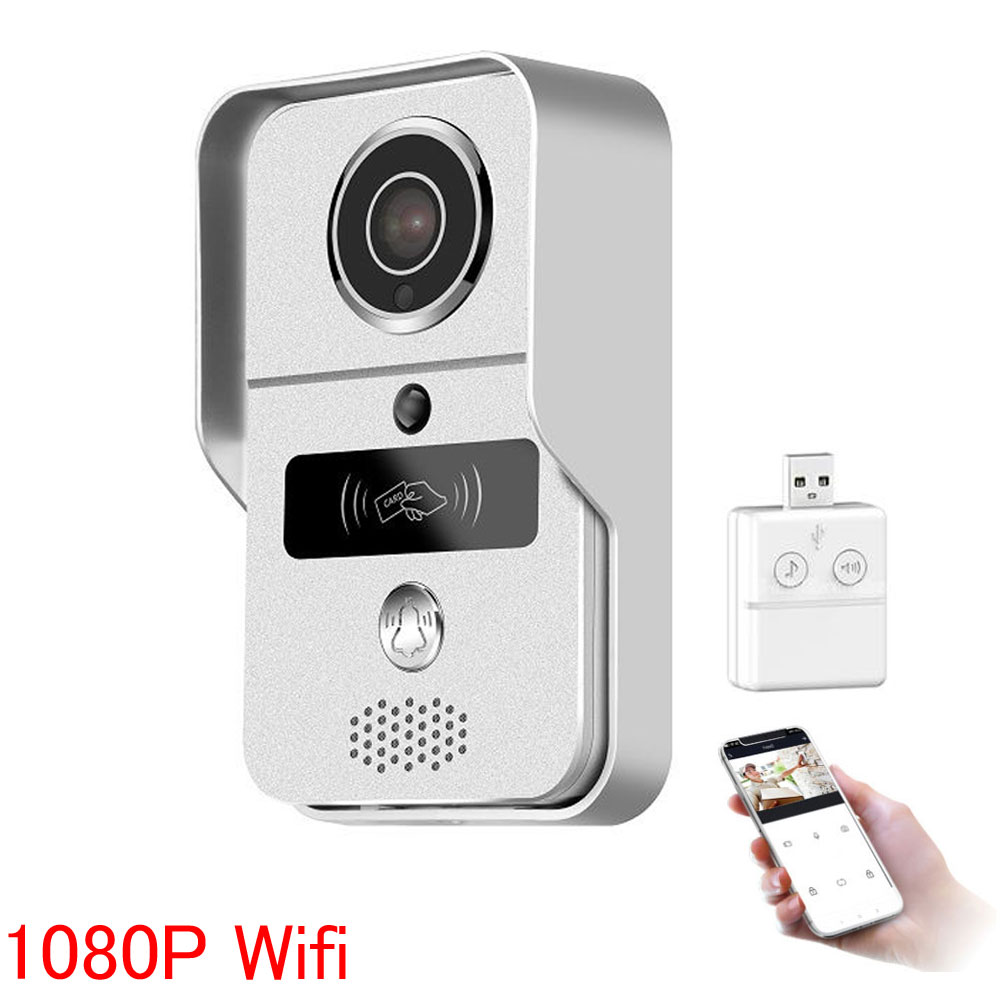 Wireless SD Card Video Recording Video Door Phone+RFID Keyfobs+Indoor Bell Wifi 1080P IP Door Bell POE Camera For ONVIF CCTV NVR