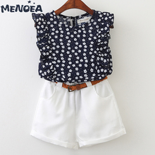 Menoea Girls Clothing Sets New Polka Dot Printing Children Fashion Kids Clothes T-shirt+Shorts 2Pcs Suit