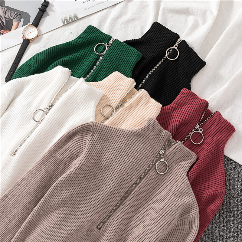 OCEANLOVE Zipper Half Turtleneck Sweater Women Solid Slim Autumn Winter Clothes 2020 Sueter Mujer Basic Fashion Pullovers 12605 2