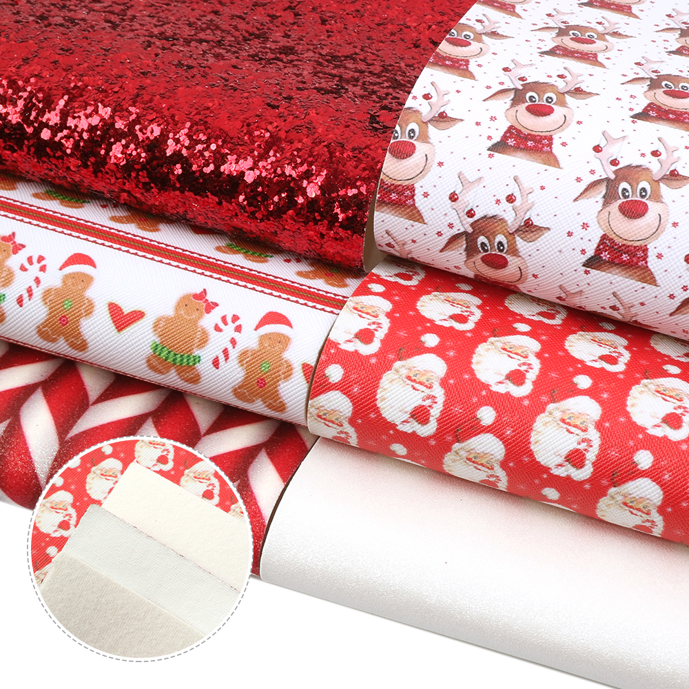 ùDeal20*34cm Christmas Assorted Faux Leather Fabric For Sewing Artificial Synthetic PVC For DIY Bag Shoes Material,1Yc12652