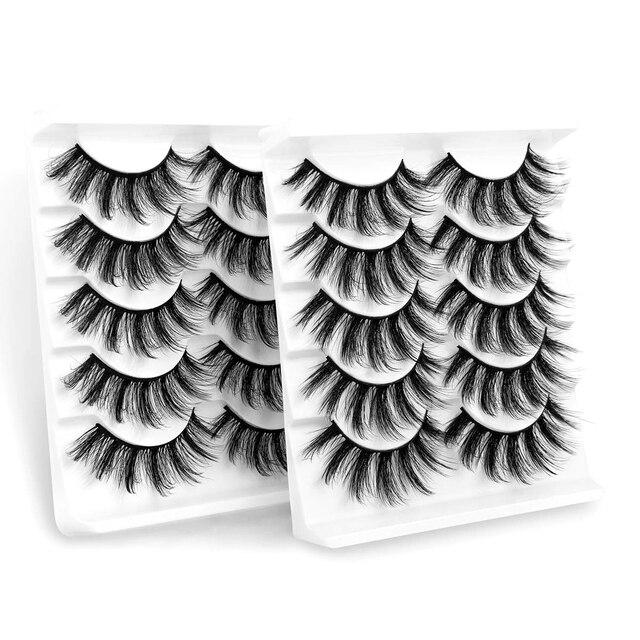 Sexysheep 5 pares 3d vison cílios postiços natural/grosso longo olho cílios wispy maquiagem beleza extensão ferramentas 4