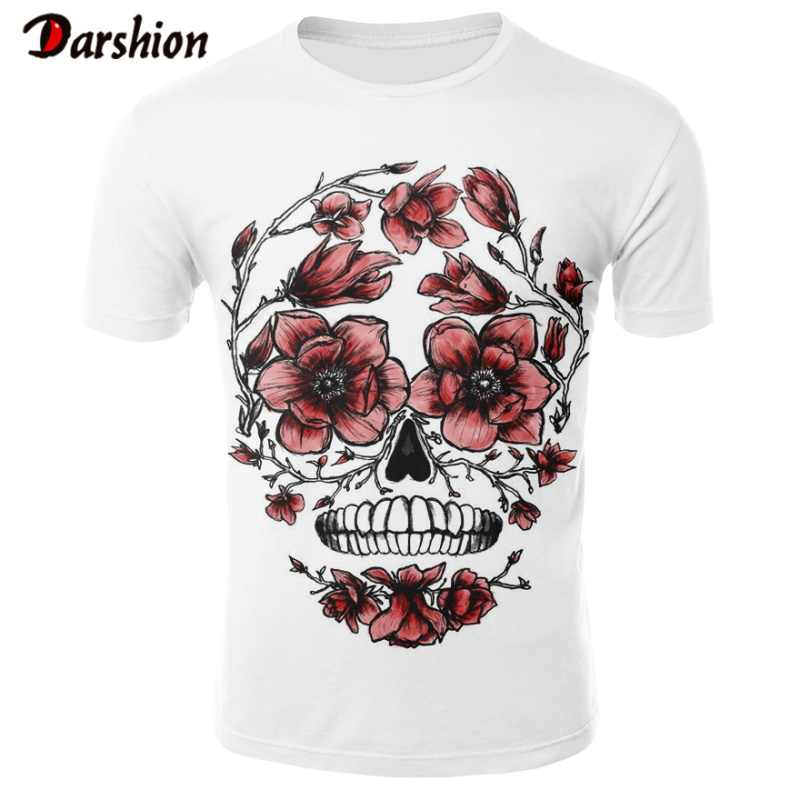 2019 뜨거운 새로운 남자 레저 3D 인쇄 T 셔츠 성격 디자인 재미 있은 해골 매 화 꽃 얼굴 인쇄 된 남성 T-셔츠 여름 Tshirt