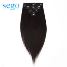 цена на SEGO 75-120G 10-24 8Pcs Set Clips In Human Hair Extensions 100% Real Machine Remy Silky Straight Brazilian Hair Blonde Clip in