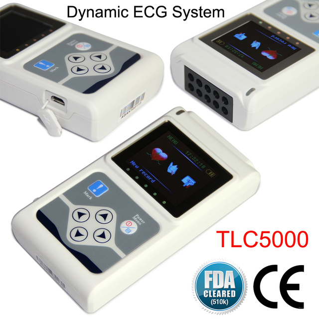 TLC5000 Handheld Dynamic ECG Machine EKG Holter 12 lead 24h Analyzer Recorder Electrocardiograph Monitor Health Care+PC Software 3