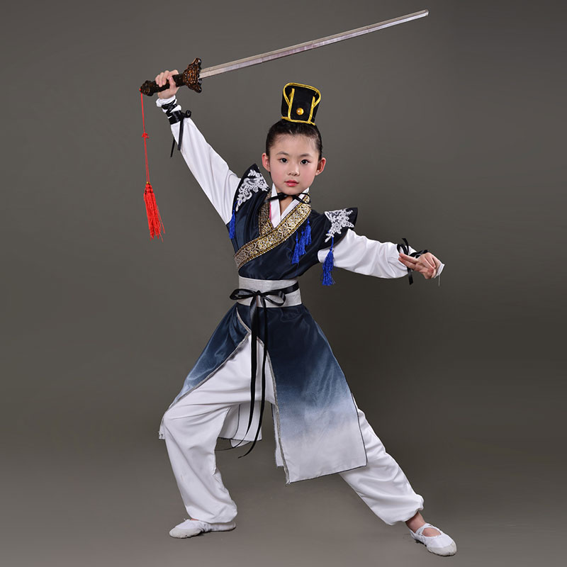 2019 Wushu Kids Chinese Outfits For Kids Wushu Kung Fu Clothes Martial Arts Taoist Girls Boys Stage Performance Costume Set Suit