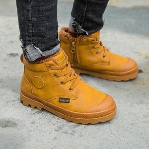 Image 4 - Dziecięce buty chłopięce dziecięce tenisówki wysokie skórzane buty dla chłopca gumowe antypoślizgowe śniegowce koronka up zimowe buty maluch bota