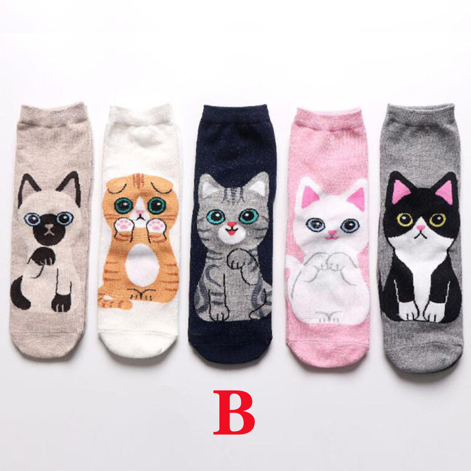 Joynny Low Cut Ankle Harajuku Middle Finger Cat Socks Cartoon Cotton Short Socks
