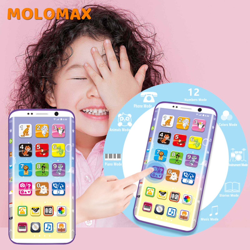 Educational Toy Cellphone With LED Baby Kid Early Education Machine English Learning Mobile Phone Toy Chrismtas Children's Gifts