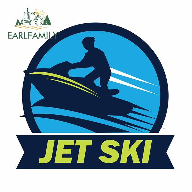 EARLFAMILY 13cm X 12cm For Jet Ski Logo With Text Personality Creative Car Stickers DIY Anime Waterproof Scratch-proof Decal