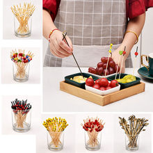 100pc bambou Pick Buffet fruits fourchette partie Dessert bâton Cocktail brochette haute qualité 2019 nouveau(China)