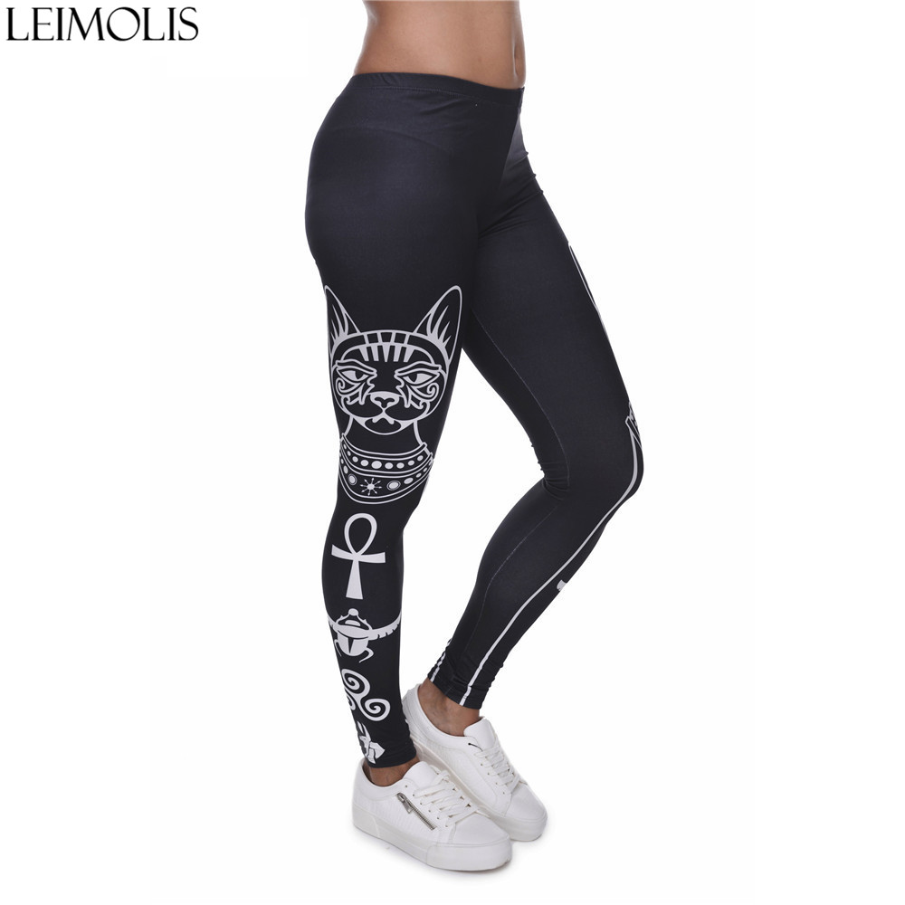 LEIMOLIS 3D Print Gothic Bastet Cat Black Fitness Push Up Workout Leggings Women Harajuku High Waist Punk Rock Sexy Leggins