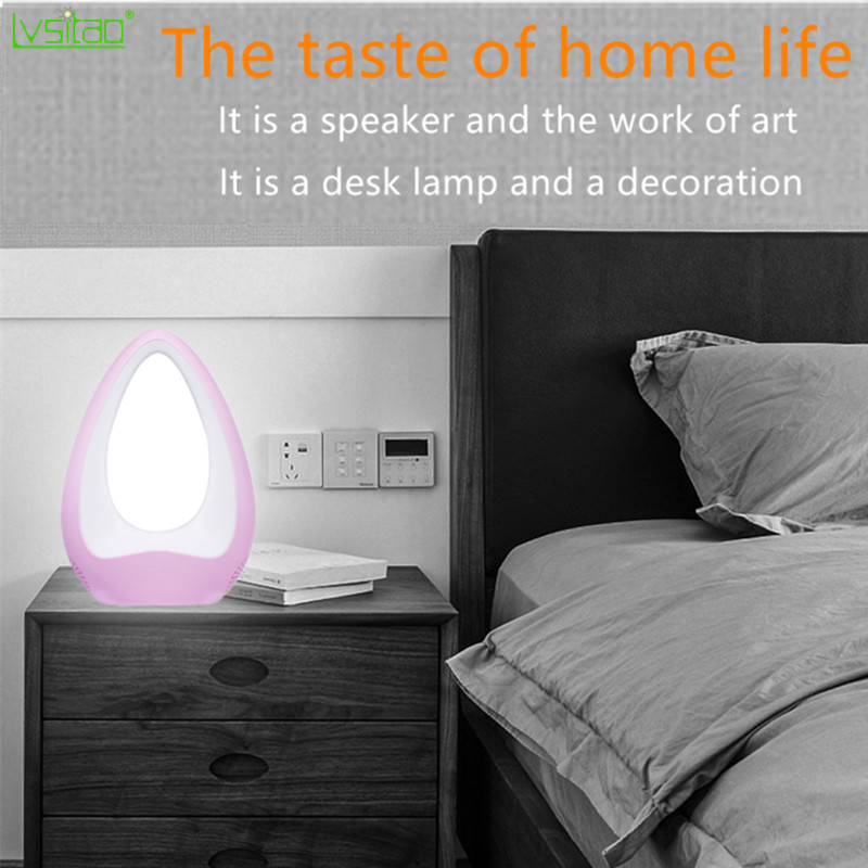 Toque alto falante bluetooth lâmpada de mesa led escurecimento luz da noite novidade presentes decoração para casa aux 220v inteligente compatível 360 som surround - 2