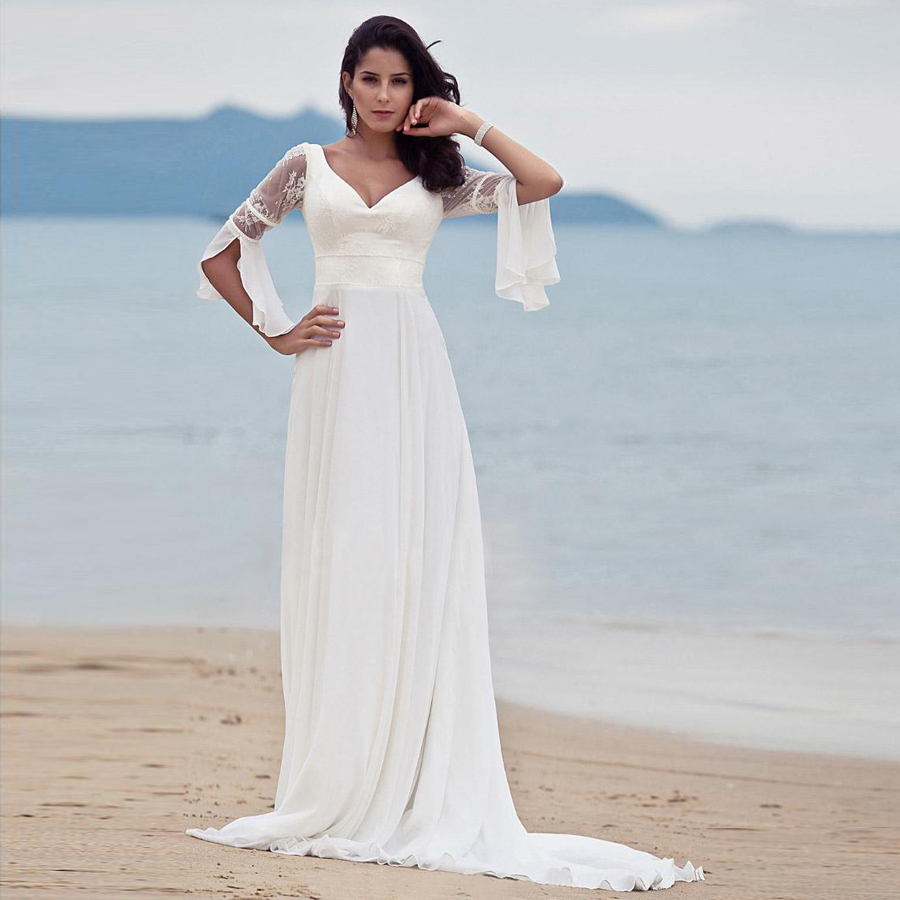 Women A-line V-neck Summer Lace Beach Wedding Dress Sexy Vintage Elegant Long Sleeves Destination Chiffon Bridal Dress