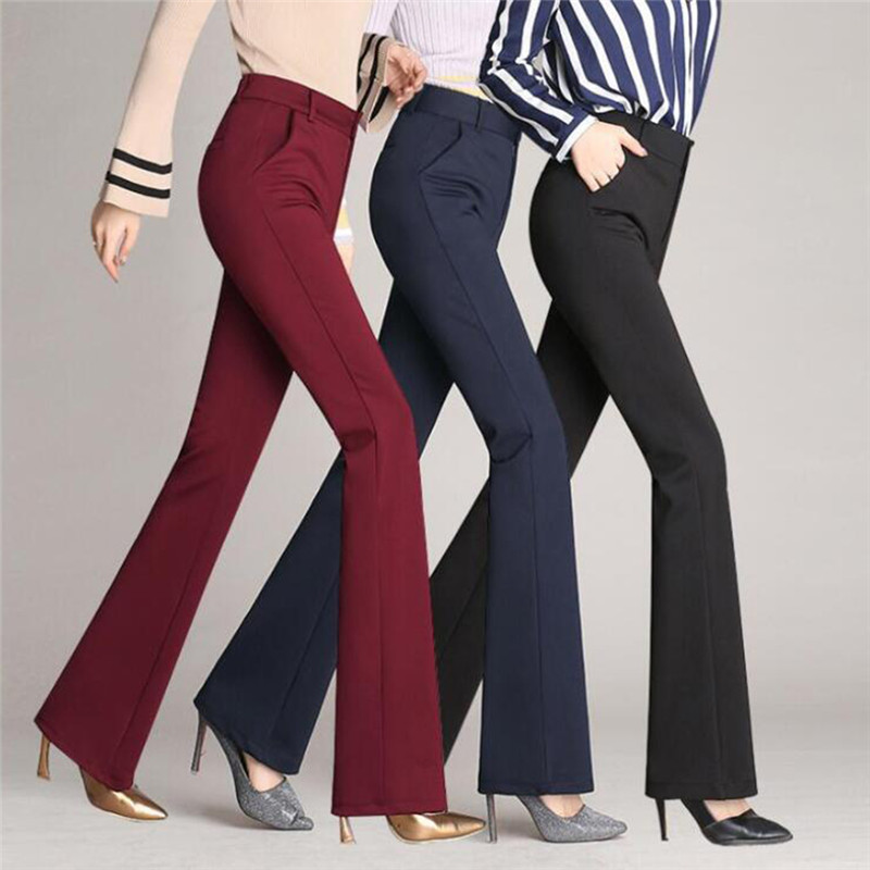Women's Pants Fashion Casual Loose Slim Flared Trousers High Waist Formal Trousers For Woman Skinny Solid  Office Lady Wear