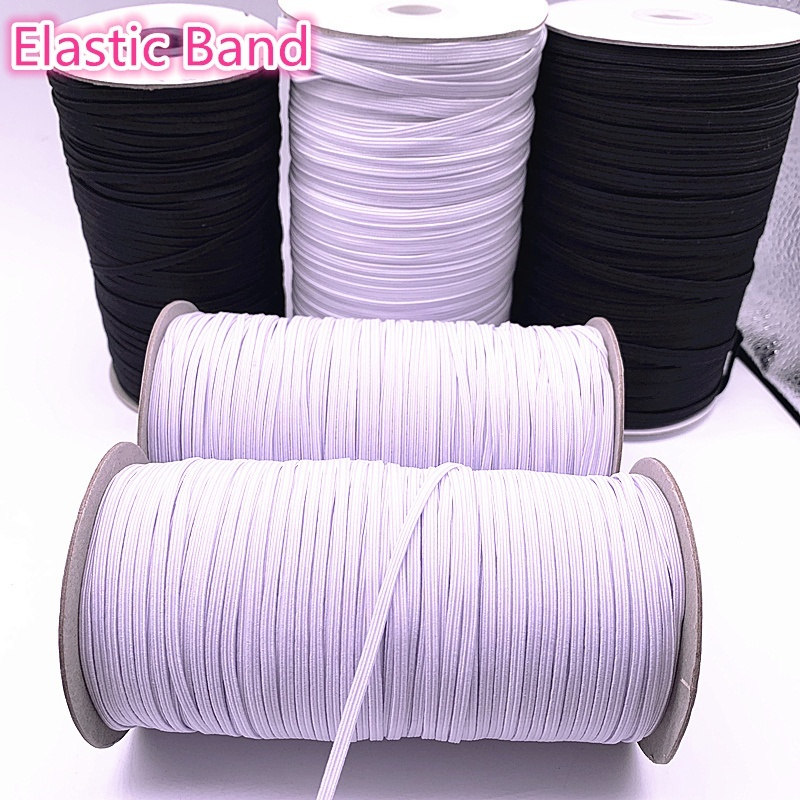 3/5/6/8/10/12mm 5 Yards/lot Hight Elastic Bands Spool Sewing Band Flat Elastic Cord White And Black Diy Handmade Accessories