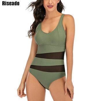 цена на Riseado Cut Out Mesh Swimsuit One Piece 2020 New Patchwork Swimwear Women Back Cross Strap Bodysuit Knotted Back Bathing Suit
