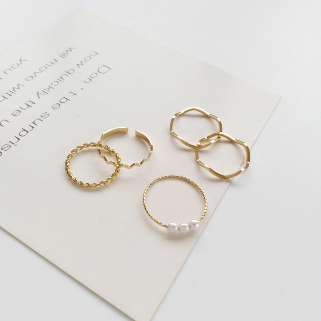 5 Pcs Fashion Rings Set for Women Jewelry Gold Round Pearl Simplicity Minimalist Style Personality Geometric Ring Wedding Party