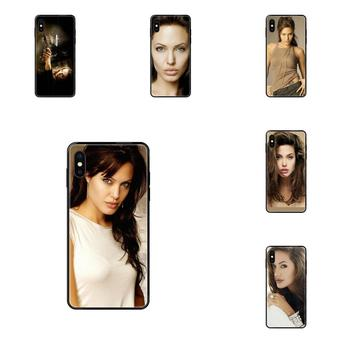 Soft TPU Black Phone Cases For Xiaomi Mi Mix 2S Redmi 3S 4X 4A 5 5A 5X 6 6A 6X 7 8 8A 8T 9A K20 Pro Plus Angelina Jolie image