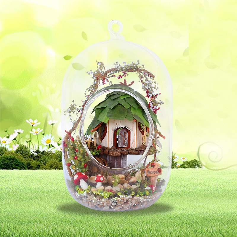 GN01 DIY Miniature Glass Ball Wooden Dollhouse Jungle Witch Farmhouse Fairy Garden Doll House Micro Landscape Hanging Decoration 1