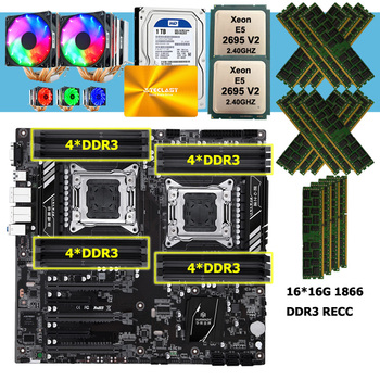 HUANANZHI X79-16D motherboard with dual xeon processor E5 2695 V2 CPU coolers 240G SATA SSD 1TB HDD RAM 256G(16*16G) 1866 RECC