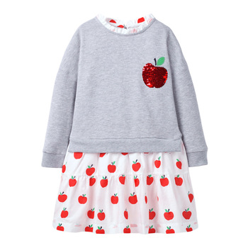 1-7 Years Baby Girl Dress Cotton Doll Collar for Kids Long-sleeved Corduroy Clothes for Toddler Girl  for Autumn and Spring 2020 - Color 8, 6T