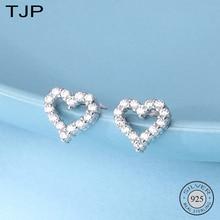 TJP S925 Sterling Silver Ornaments Simple Sweet Earrings Hollowed Out Full Drill Love Peach Heart Zircon Earnails