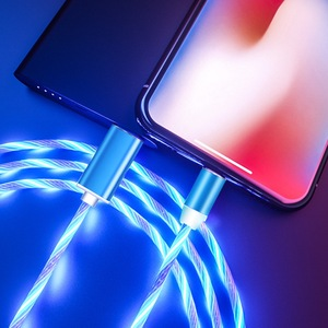 LED Illuminated Flow Micro USB Type C Cable For Samsung S8 Huawei P20 P30 Fast Charging Wire For iPhone Charger Magnetic Cable