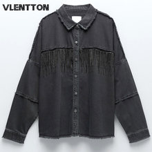 Женские винтажные черные джинсовые куртки с кисточками однотонные