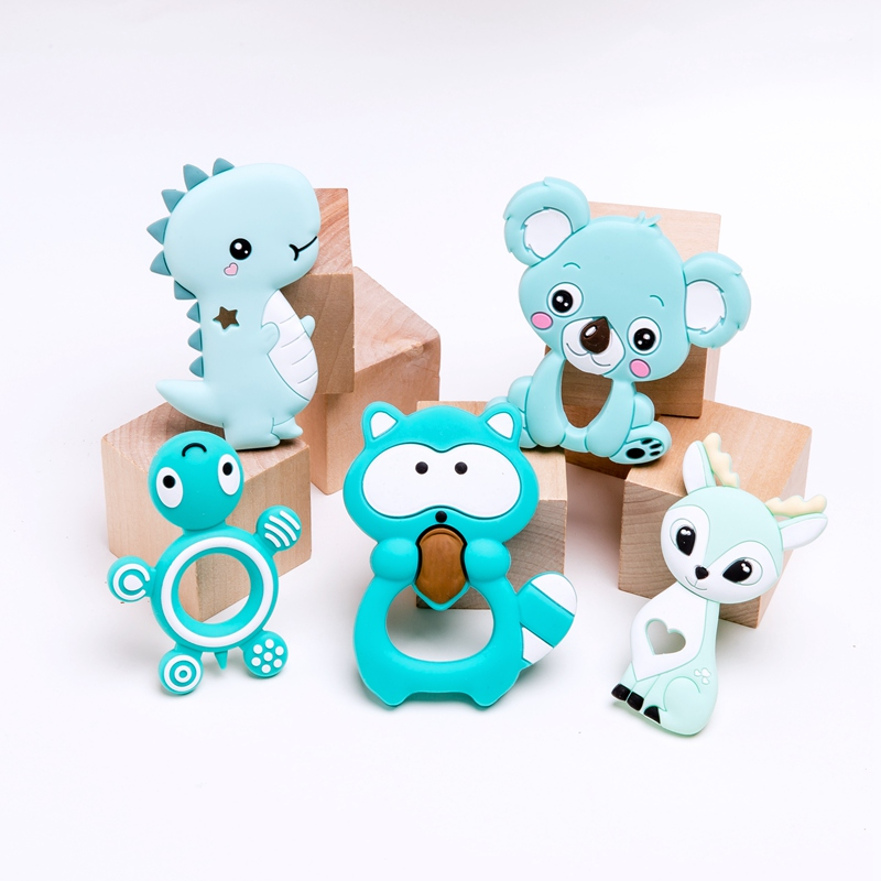 5PC/lot Silicone Baby Teether Set  Toddler Toys Cartoon Animal Diy Stroller Accessories For Pacifier Chain Fox Tiny Baby Gifts